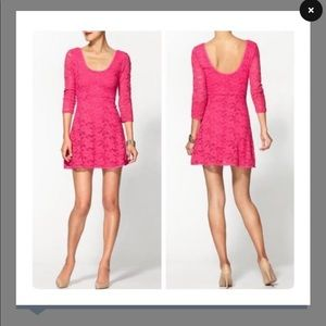 Free People Hot Pink Rose Garden Lace Skater Dress